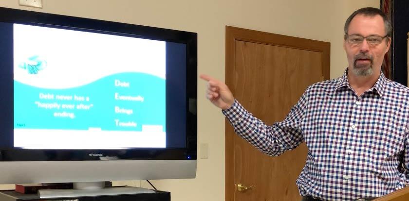 D. Greg Ebie presenting the Finding Financial Freedom seminar